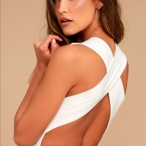 Lulu's Match Point White Bodysuit